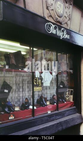 The Wig Box at 51-52 Carey Street, London, England, UK, Circa 1980's - Stock Image