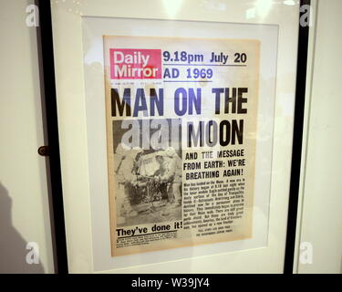 Glasgow, Scotland, UK 13th July, 2019. Man On The Moon exhibition at the Glasgow Science centre to commemorate the 50th anniversary of the first moon landing. With a sixties feel a living room set with a moon tv and  period radio with fashionable homeware, Gerard Ferry/ Alamy Live News - Stock Image