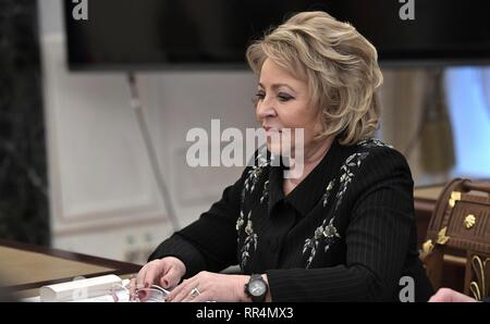 Moscow, Russia. 22nd Feb, 2019. Russian Chairwoman of the Council of Federation Valentina Matviyenko before the start of the permanent members of the Security Council of the Russian Federation meeting at the Kremlin February 22, 2019 in Moscow, Russia. Credit: Planetpix/Alamy Live News - Stock Image