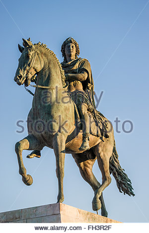 Equestrian statue of Louis XIV on Place Bellecour in Lyon (France) - Stock Image