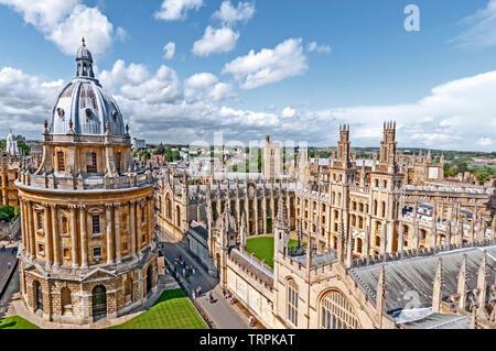 Oxford (England, Great Britain): Bird's eye view on colleges in Oxford; Oxford Colleges in der Vogelschau - Stock Image