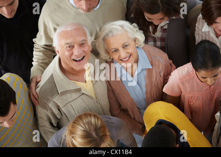 Portrait of group of people looking at camera, high angle - Stock Image