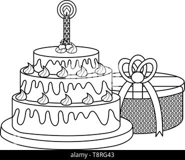 gift box present with sweet cake vector illustration design - Stock Image