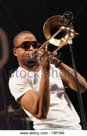American trombone and trumpet player, Troy Andrews aka Trombone Shorty performing with his band, Orleans Avenue at the Womad Festival, Charlton Park,  - Stock Image