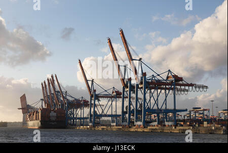 HAMBURG, GERMANY - April 25, 2017: Port of Hamburg, Terminal Burchardkai in the evening light - Stock Image