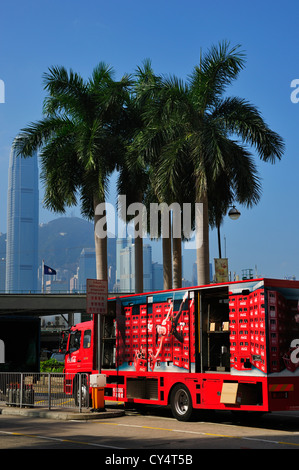 A Coca Cola truck in front of Kowloon Star Ferry terminal, HongKong SAR - Stock Image