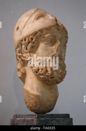 Head of Mars, god of war. Marble. Carmona. Late 1st century. Archaeological Museum of Seville. Andalusia. Spain. - Stock Image