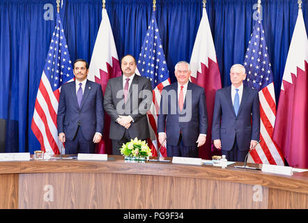 U.S. Secretary of State Rex Tillerson poses for a photo with (L to R) Qatari Foreign Minister Sheikh Mohammed bin Abdulrahman Al Thani, Defense Minister Khalid bin Muhammad al-Atiyah, and U.S. Secretary of Defense James Mattis before the High-Level Opening Session of the Inaugural U.S.-Qatar Strategic Dialogue at the U.S. Department of State in Washington, D.C. on January 30, 2018. - Stock Image