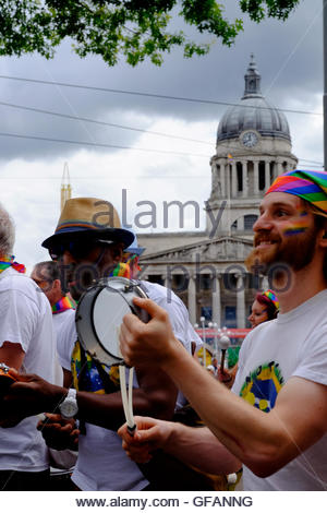 Nottingham, UK. 30th July, 2016. Nottingham Pride parade. Nottingham School of Samba LGBT (lesbian, gay, bisexual, - Stock Image