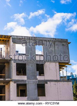 Poznan, Poland - March 9, 2019: Apartment building under construction. - Stock Image