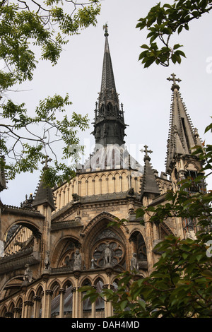 Reims Cathedral from the East Side, Reims, Marne, Champagne-Ardennes, France. - Stock Image