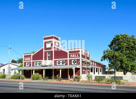 1929 Heritage-listed Warroo Shire Hall at Surat, corner of Cordelia and William Streets, Maranoa Region, Queensland, QLD, Australia - Stock Image