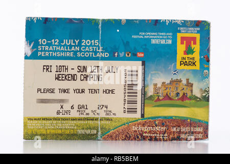 T in the Park ticket 2015 Strathallan Castle, Scotland, UK (ticket holders name obscured for privacy) - Scottish music festival - Stock Image