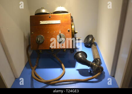 Old fashioned telephone by Ericsson of Sweden, date 1880 in the Connected Earth Exhibition at the Milton Keynes Museum, Wolverton, Buckinghamshire, UK - Stock Image