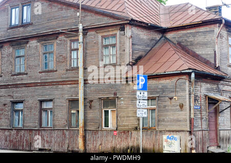 Old wooden houses of Riga, Latvia - Stock Image