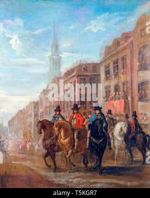 William Hogarth, Restoration Procession of Charles II at Cheapside, painting, c. 1745 - Stock Image