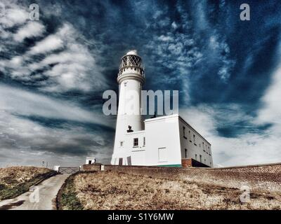 Flamborough Head lighthouse, East Yorkshire, England, UK - Stock Image
