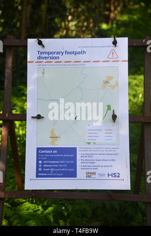 A temporary diversion sign warning walkers that the route of a footpath has been altered owing to construction work for the HS2 rail project in this p - Stock Image
