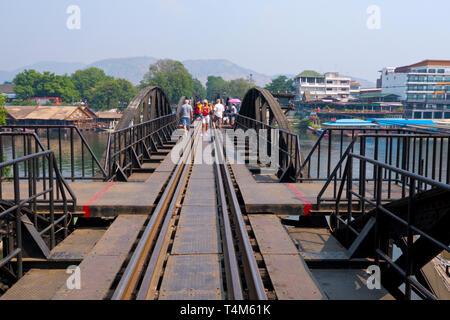 Death Railway Bridge, Mae Nam Khwae River, Kanchanaburi, Thailand - Stock Image