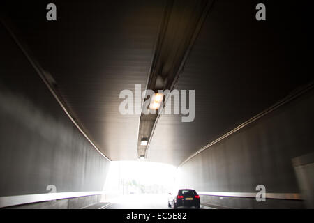 driving in a tunnel - Stock Image