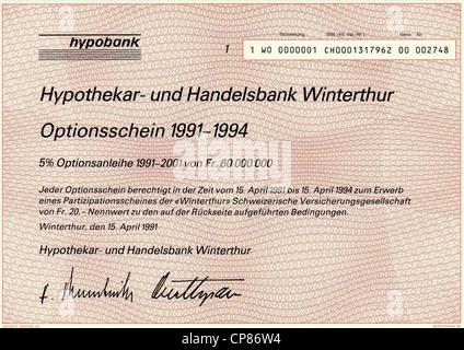 Historic stock certificate, Securities certificate, bearer warrant,Historisches Wertpapier, Inhaber-Optionsschein - Stock Image