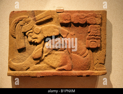 Mayan Relief from Jonuta, Tabasco, Mexico in the National Museum of Anthropology, Chapultepec Park, Mexico City, - Stock Image