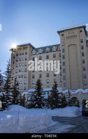 Chateau Lake Louise Hotel Alberta Canada Winter - Stock Image