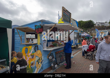 A stall selling fresh seafood at the Pembrokeshire Fish Week in Milford Haven, Pembrokeshire. - Stock Image