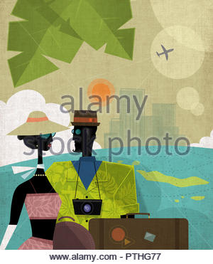 Cool couple travelling on vacation - Stock Image