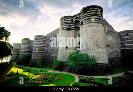 Castle of Angers in the city of Angers in the Maine et Loire region of France - Stock Image