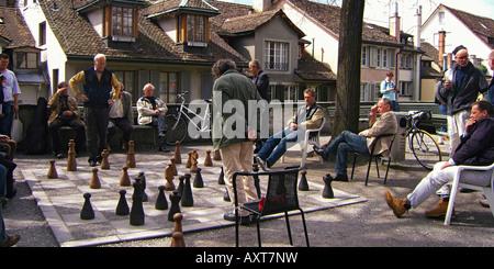 Switzerland Zurich Lindenhof chess player open air Zuerich Schachspieler auf dem Lindenhof - Stock Image