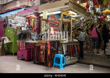 Shopping in the wet market in Wan Chai - Stock Image