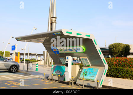 Electric car re-charging point at Glafcos Clerides International Airport, Larnaca, Cyprus October 2018 - Stock Image