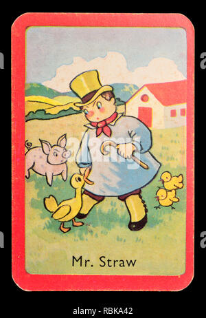 Card from a Noddy snap card game (1955)  - Mr Straw - Stock Image