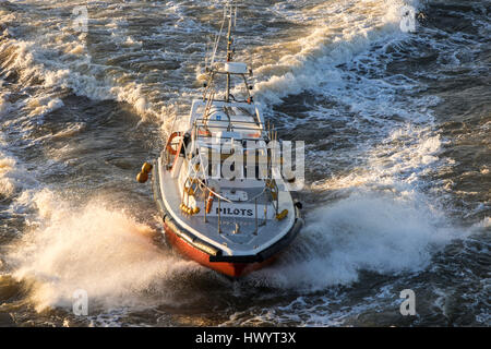 Pilot boat, comes to ship to collect pilot, Montevideo, Uruguay - Stock Image