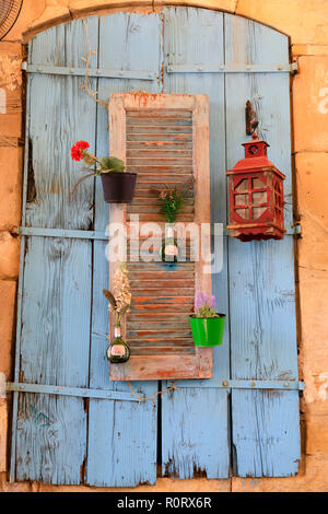 Decorative window shutters, Larnaca, Cyprus October 2018 - Stock Image