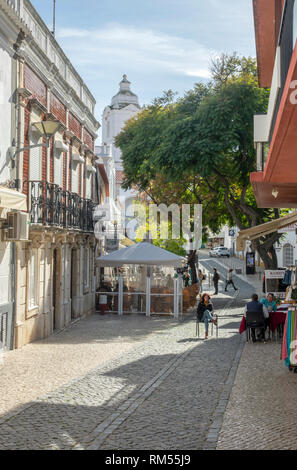 A Pedestrian Street In Lagos Old Town Portugal The Algarve Portugal - Stock Image