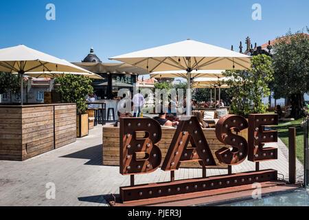 Base Porto, an outdoor cafe and cocktail bar, Clérigos, Porto, Portugal. - Stock Image