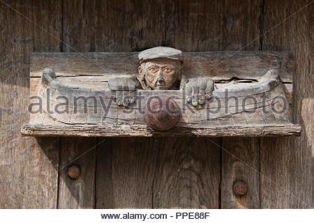 Decorative carving on a vintage  wine barrel at Château de Pommard, Route des Grands Crus Burgundy France - Stock Image