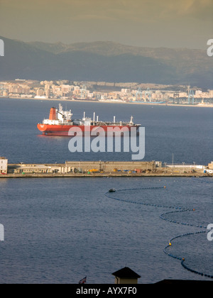 The Bay of Gibraltar freight ship shipping tanker yacht sail sailing boat Queensway Wharf Bay of Gibraltar Gibraltarian Europe - Stock Image