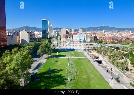 Barcelona, Spain, October 2018. Alongside Parc de Joan Miro with his Woman and Bird sculpture visible in the distance. View from the roof of Arenas. - Stock Image