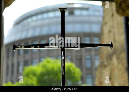 cross cruciform interior kaiser wilhelm church berlin germany deustchland travel tourism building architecture - Stock Image