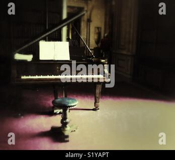 Grand piano and stool - Stock Image