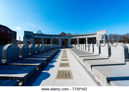 Brussels, Belgium. Exterior of the underground burial site and catacombs at the oldest cemetery of Brussels: Laeken. - Stock Image