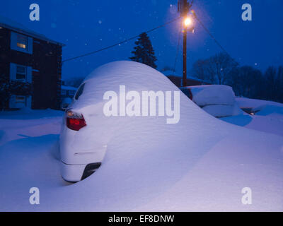 Lexington, MA, USA, 28 Jan, 2015. Snow covered cars outside of a Lexington, MA, apartment building during the massive - Stock Image