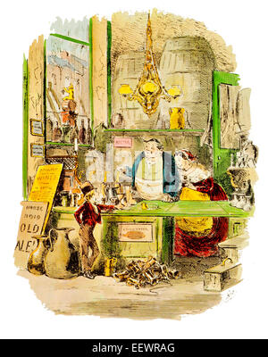 David Copperfield magnificent order at the public house Charles John Huffam Dickens shop retail Victorian - Stock Image