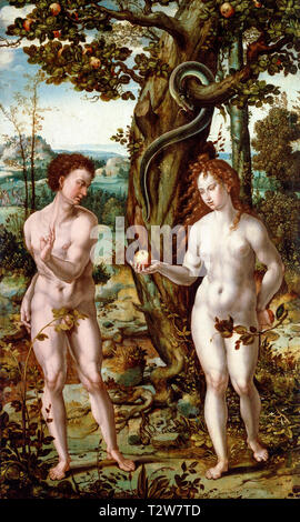 The Fall of Man, Adam and Eve painting, follower of Pieter Coecke van Aelst, c. 1520 - Stock Image