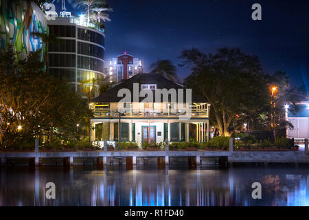 The historic Stranahan House along the New River in downtown Fort Lauderdale. The Stranahans were one of the founding families of Fort Lauderdale. - Stock Image