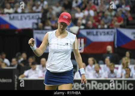 Prague, Czech Republic. 10th Nov, 2018. US tennis player Alison Riske in action against Czech tennis player Katerina Siniakova (not seen) during the 2018 Fed Cup final match between Czech Republic and USA, rubber 2, singles, at the O2 arena in Prague, Czech Republic, on November 10, 2018. Credit: Michal Kamaryt/CTK Photo/Alamy Live News - Stock Image