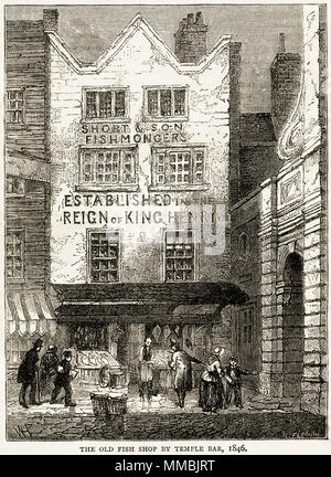 Short & Son Fishmongers next to Temple Bar, London, England, UK in 1846. 19th century Victorian engraving circa 1878 - Stock Image
